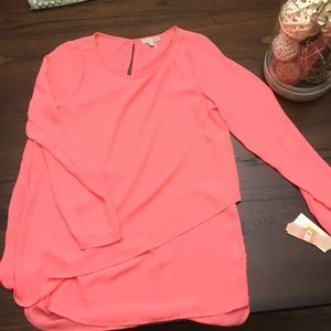 GB women's large sheer coral blouse